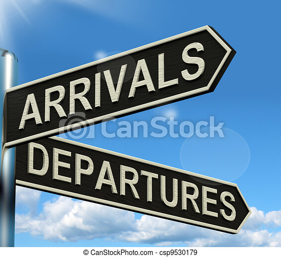 Arrivals Departures Signpost Shows Flights Airport And International Travel - csp9530179