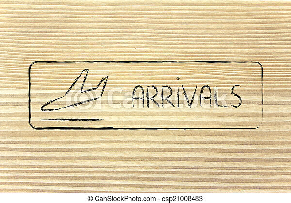 Arrivals sign as found in airport terminals - csp21008483