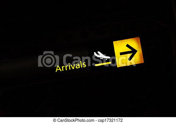 arrivo, aeroporto, segno - csp17321172