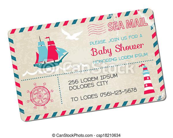 arrivo, cartolina, -, doccia, tema, vettore, mare, nautico, bambino, o - csp18210634