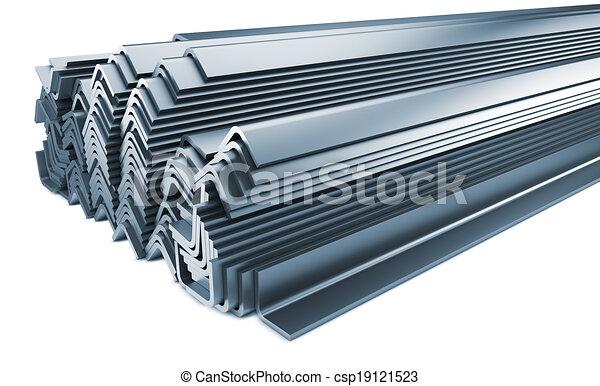 Un montón de productos de metal enrollados aislados en blanco. - csp19121523