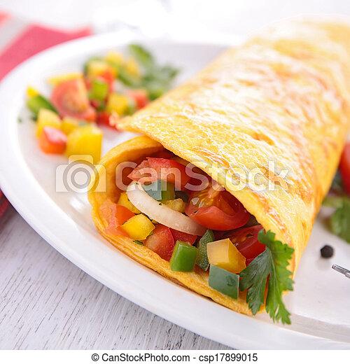 Omelette enrollada con verduras - csp17899015