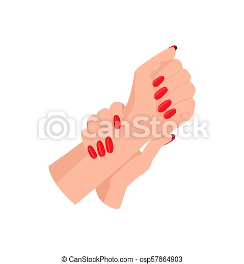 arrondi, femme, clous, manucure, mains, rouges - csp57864903
