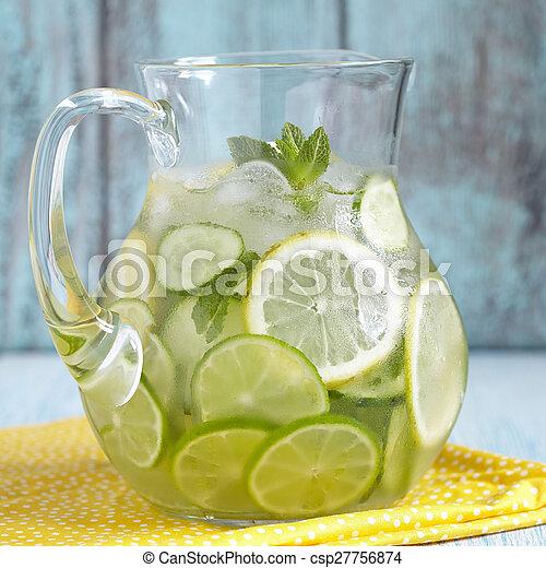 arrosez verre, fruit, cruche - csp27756874