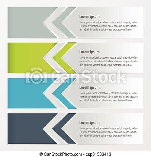Arrow Banner Green, blue, gray color - csp31533413
