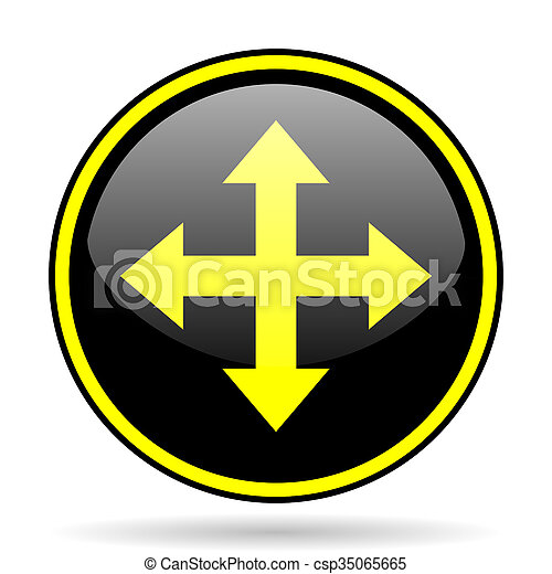 arrow black and yellow glossy internet icon - csp35065665