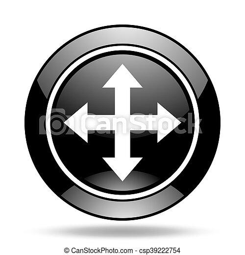 arrow black glossy icon - csp39222754