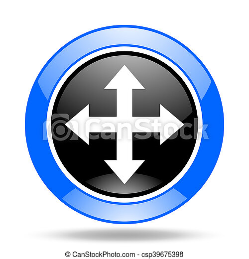 arrow blue and black web glossy round icon - csp39675398
