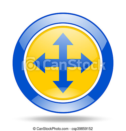 arrow blue and yellow web glossy round icon - csp39859152