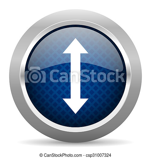 arrow blue circle glossy web icon on white background, round button for internet and mobile app - csp31007324