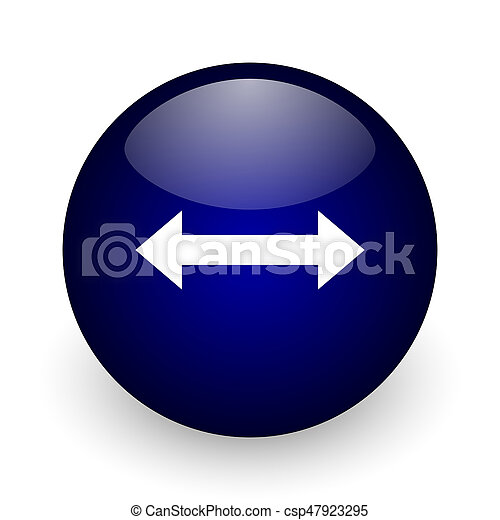 Arrow blue glossy ball web icon on white background. Round 3d render button. - csp47923295