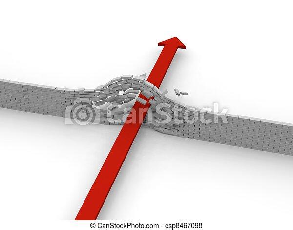 Arrow breaking through wall - csp8467098