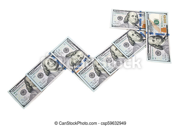 Arrow chart showing the income from the bills of one hundred dollars. On a white background. Isolated. - csp59632949