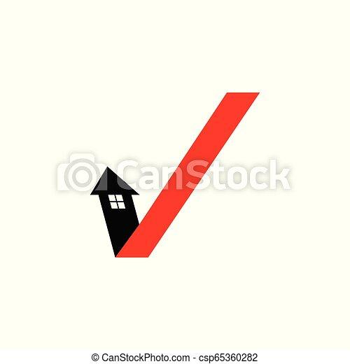 Arrow check mark house logo. - csp65360282