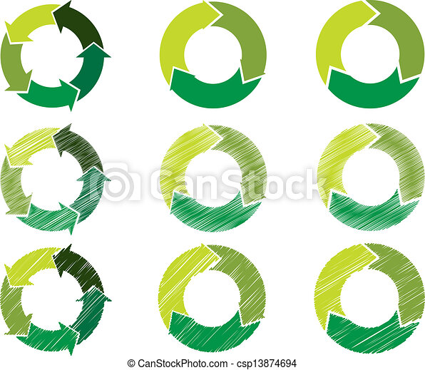 Arrow circles in sustainable green color - csp13874694