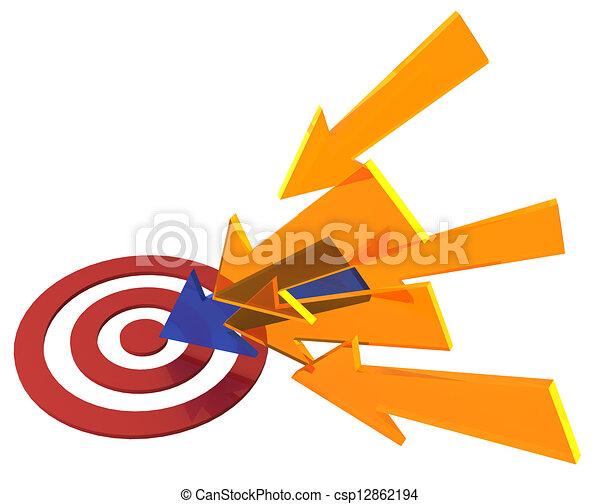 Arrow colors find target bullseye success - csp12862194