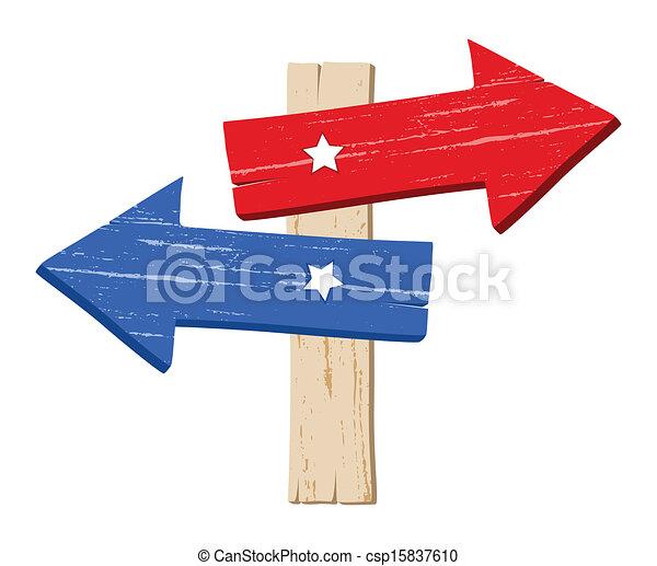 arrow direction signboard vector drawing art of wooden way rh canstockphoto com