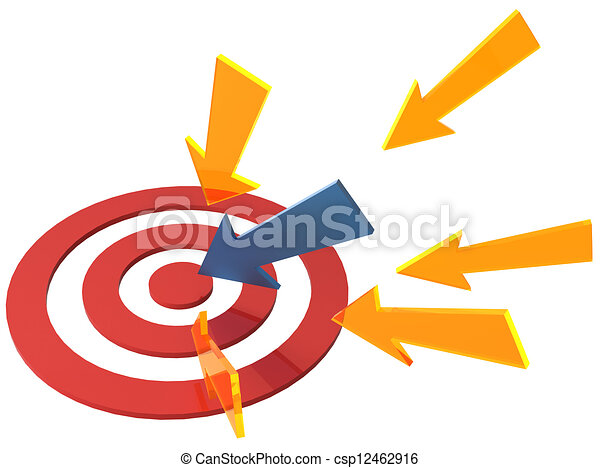 Arrow directions point at target bullseye - csp12462916