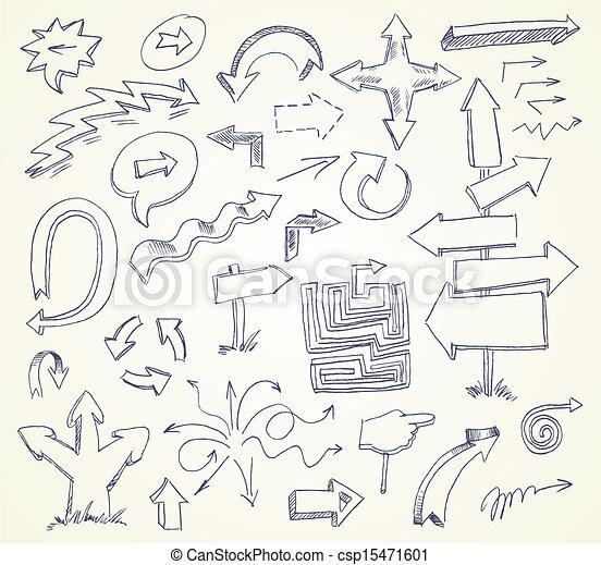 Arrow Doodles. Hand-drawn. Vector - csp15471601