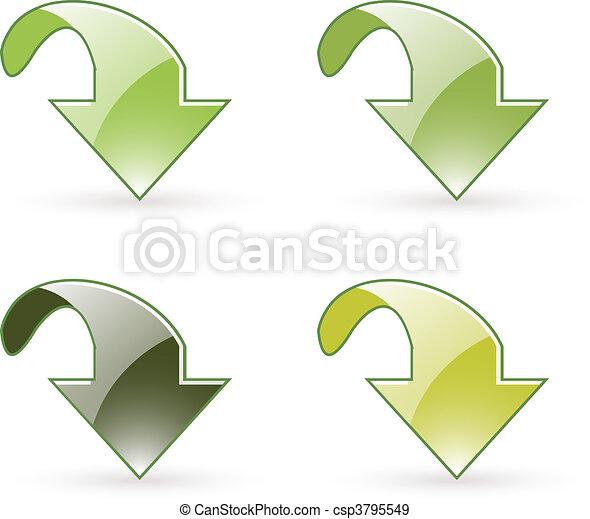 arrow download green button icon - csp3795549