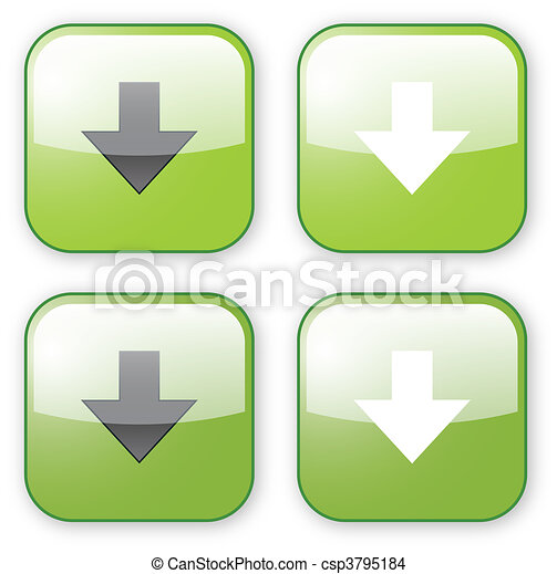 arrow download green button icon - csp3795184