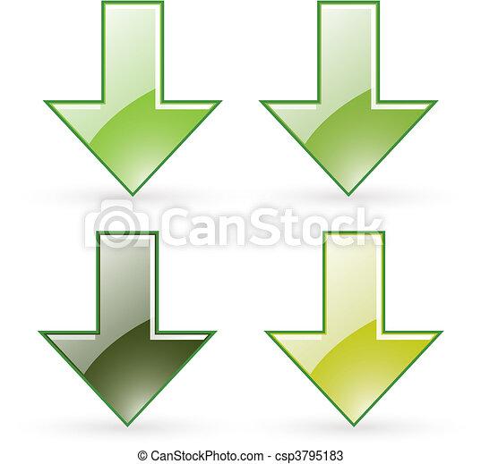 arrow download green button icon - csp3795183