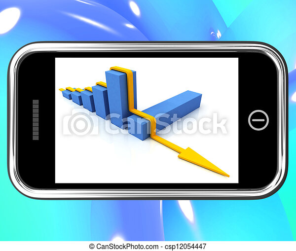 Arrow Falling On Smartphone Showing Collapsed Finances - csp12054447