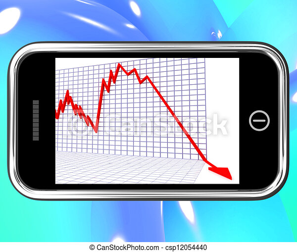 Arrow Falling On Smartphone Shows Risky Investments - csp12054440