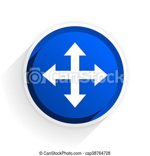 arrow flat icon with shadow on white background, blue modern design web element - csp38764728