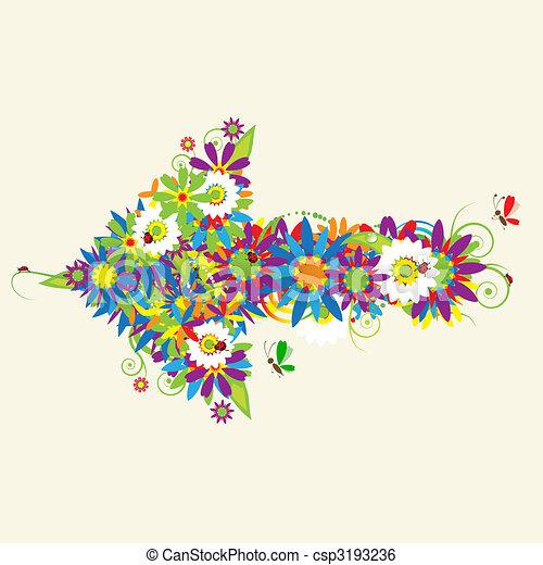 Arrow, floral design. See also arrows in my gallery - csp3193236