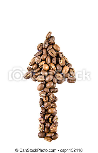 arrow from coffee beans isolated on white - csp4152418