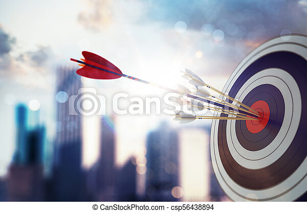 Arrow hit the center of target with modern skyscraper background. Business target achievement concept. 3D Rendering - csp56438894