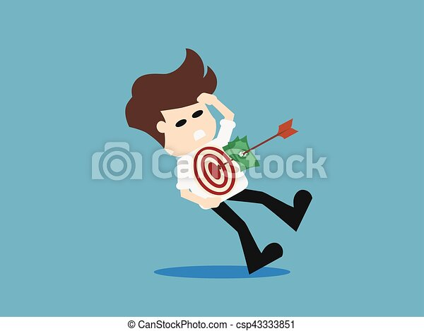 Arrow hitting target. Business concept. vector illustration. - csp43333851