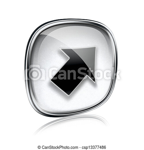 Arrow icon grey glass, isolated on white background - csp13377486