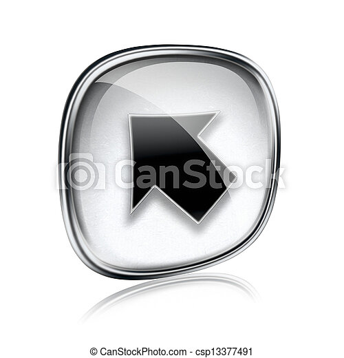 Arrow icon grey glass, isolated on white background - csp13377491