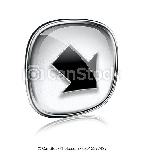 Arrow icon grey glass, isolated on white background - csp13377497