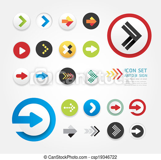 arrow icons design set / can be used for infographics / graphic or website layout vector - csp19346722