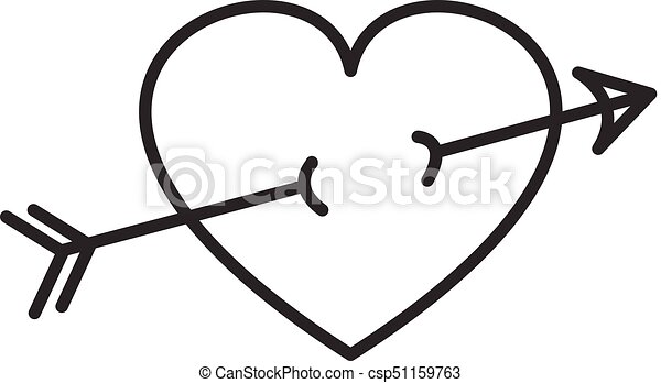 Arrow in heart vector line icon, sign, illustration on ...