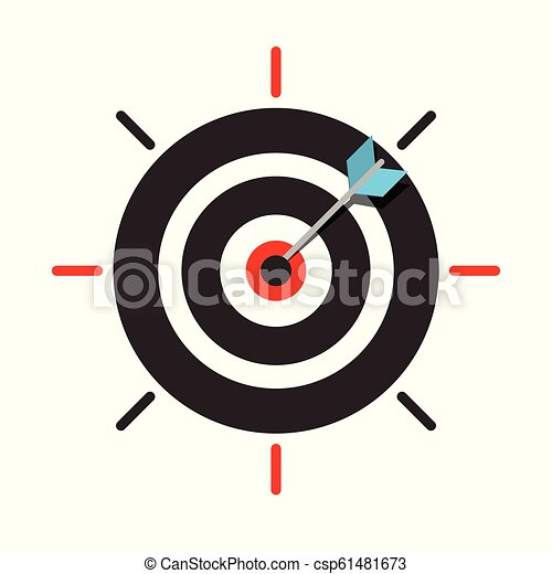 Arrow in Target Centre Icon. Dart in Bullseye. Vector Business Success Symbol. - csp61481673