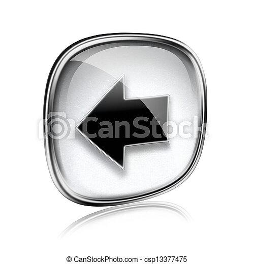 Arrow left icon grey glass, isolated on white background. - csp13377475