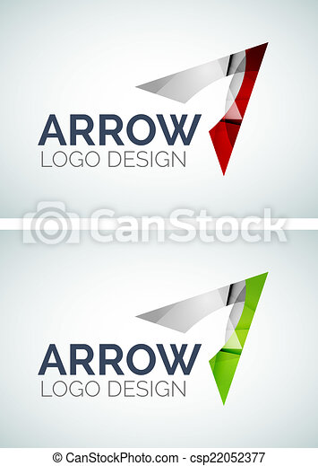 arrow logo design made of color pieces abstract arrow logo design