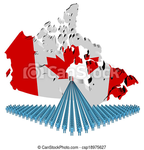 Canada Map Flag.Arrow Of People With Canada Map Flag Illustration