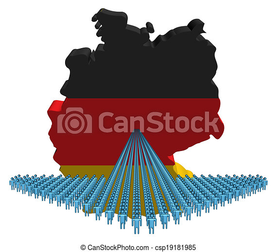 Arrow of people with Germany map flag illustration - csp19181985