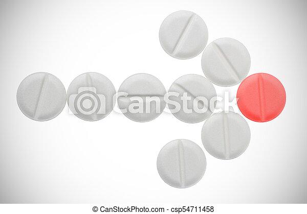 Arrow of white pills ending on red pill