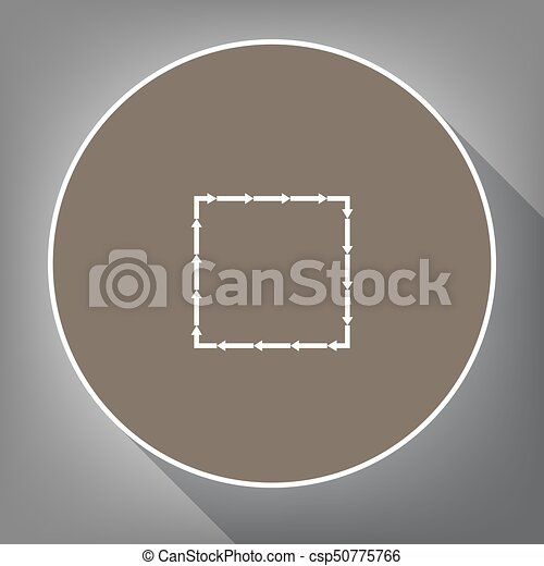 Arrow on a square shape. Vector. White icon on brown circle with white contour and long shadow at gray background. Like top view on postament. - csp50775766