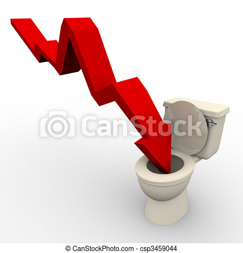 Arrow Plunging Down into the Toilet - csp3459044