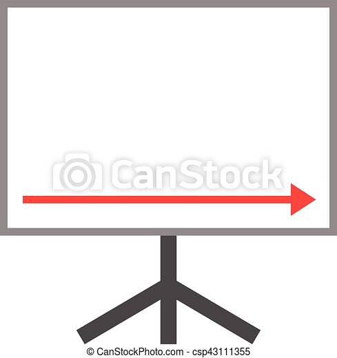 Arrow Pointing Right Down On Board Vector White Board With Red