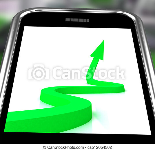 Arrow Pointing Up On Smartphone Showing Progression Report - csp12054502
