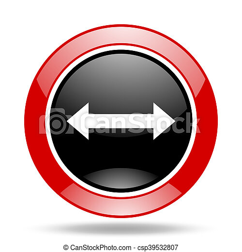 arrow red and black web glossy round icon - csp39532807