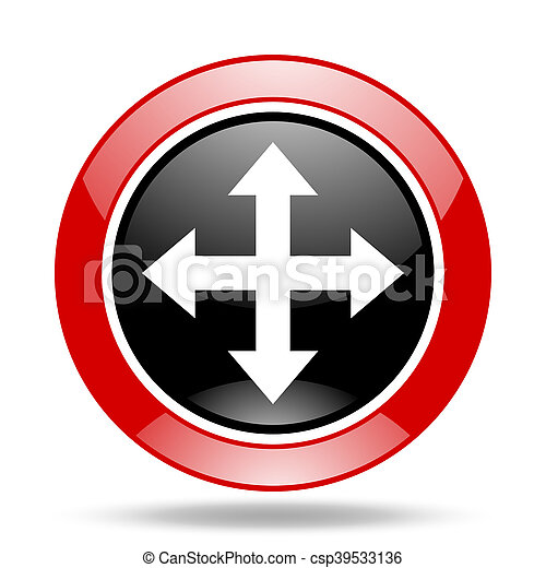 arrow red and black web glossy round icon - csp39533136